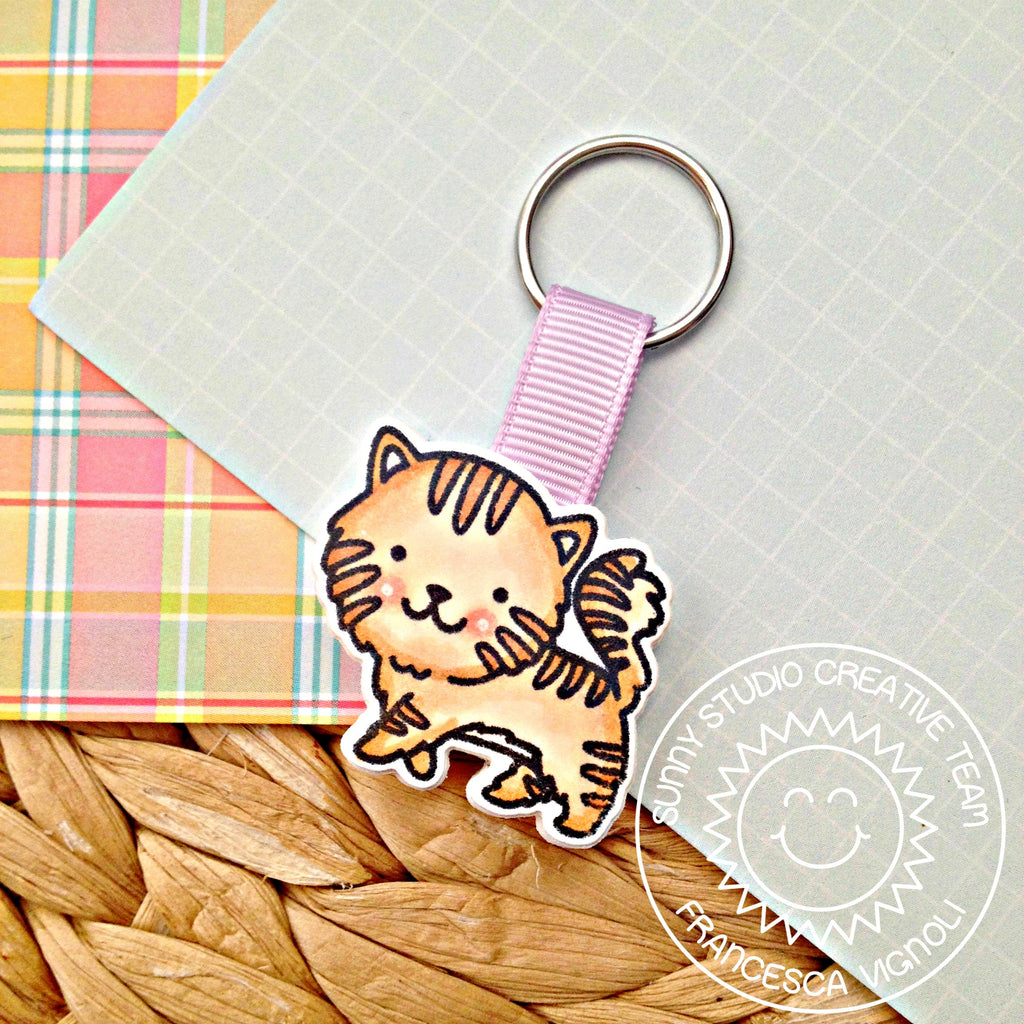 Sunny Studio Stamps Purrfect Birthday Tabby Cat Key Chain