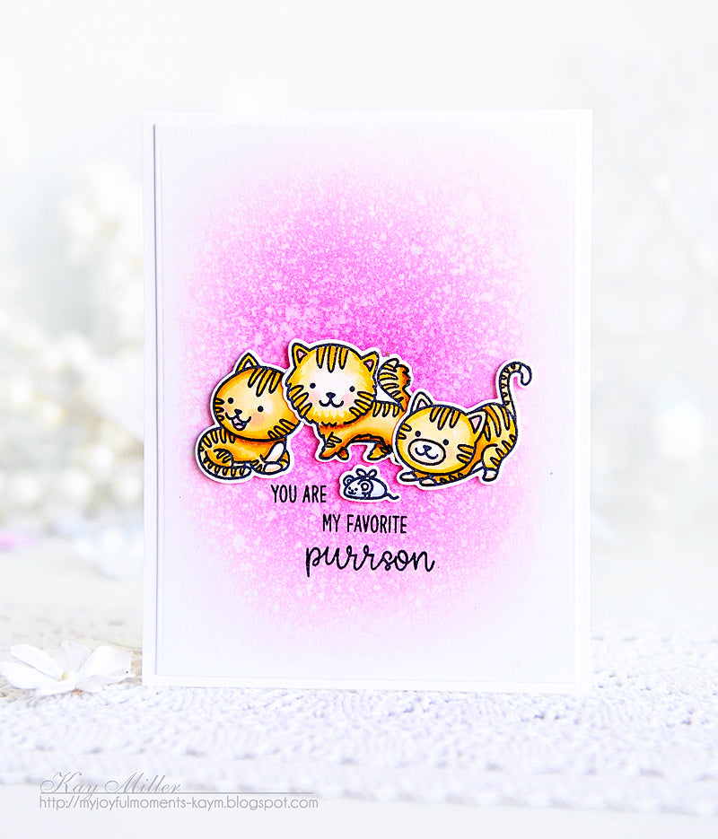 Sunny Studio Stamps Purrfect Birthday Favorite Purrson Orange Tabby Kitty Cat Card by Kay Miller