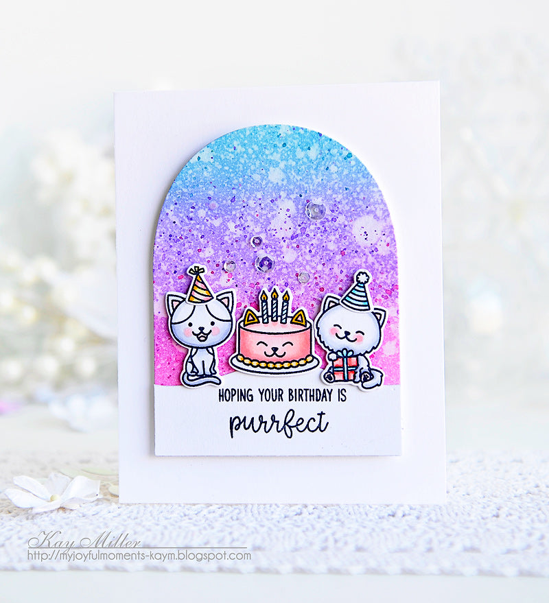 Sunny Studio Stamps Purrfect Birthday Lavender & Pink Kitty Cat Card by Kay Miller