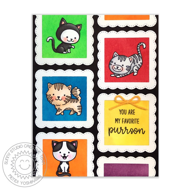 Sunny Studio Stamps Purrfect Birthday Rainbow Grid Frame Favorite Purrson Cat Card by Mendi Yoshikawa