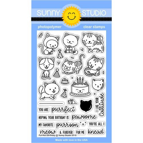 Sunny Studio Stamps Purrfect Birthday Kitty Cat Themed 4x6 Clear Photopolymer Stamp Set