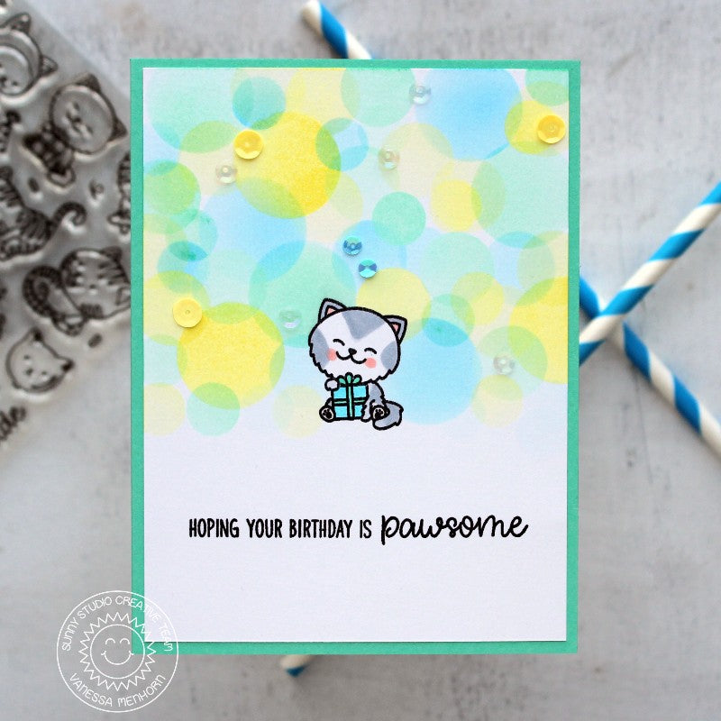 Sunny Studio Stamps Purrfect Birthday Kitty Cat Pawsome Card by Vanessa