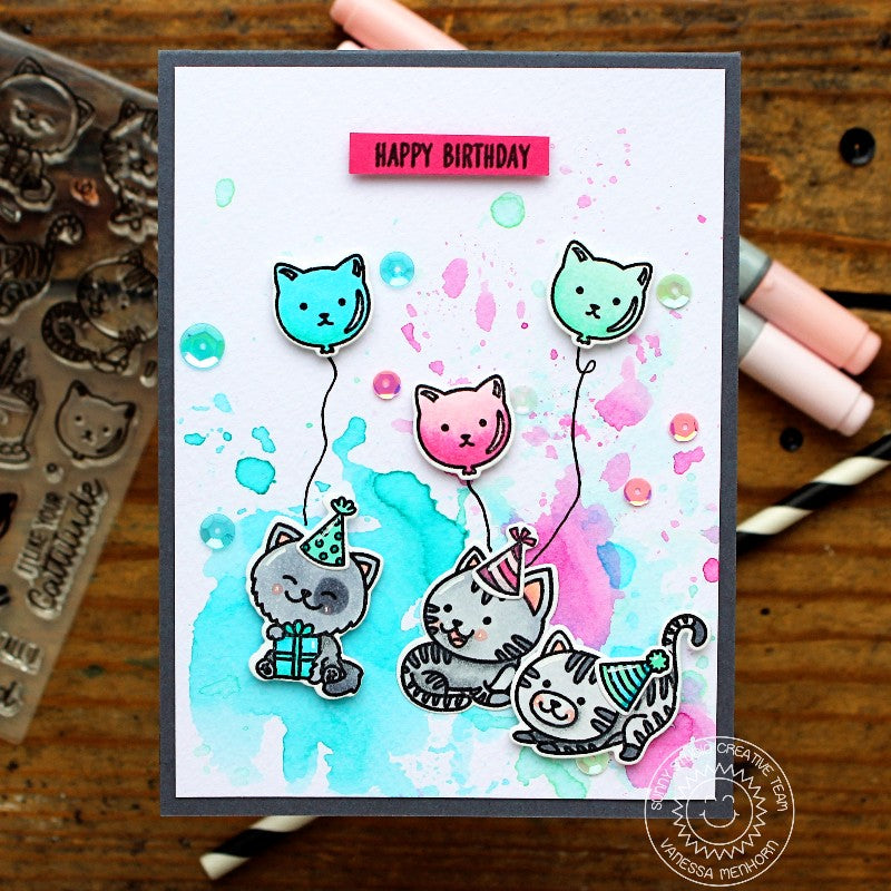 Sunny Studio Stamps Purrfect Birthday Watercolor Kitty Cat Party Card