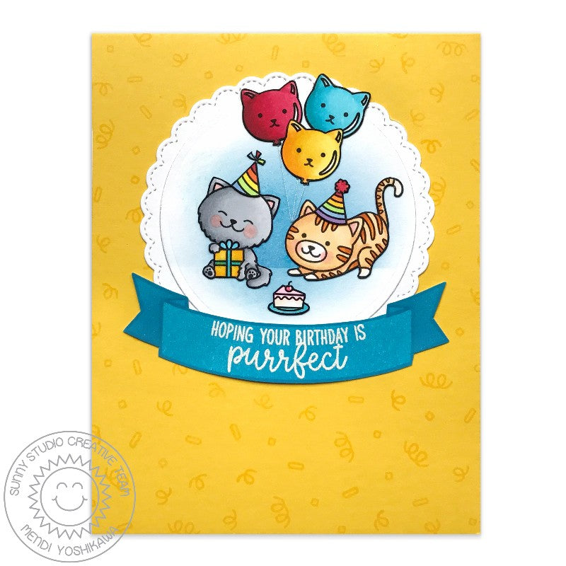 Sunny Studio Stamps Circle Fancy Frames Cat Party Birthday Card by Mendi Yoshikawa