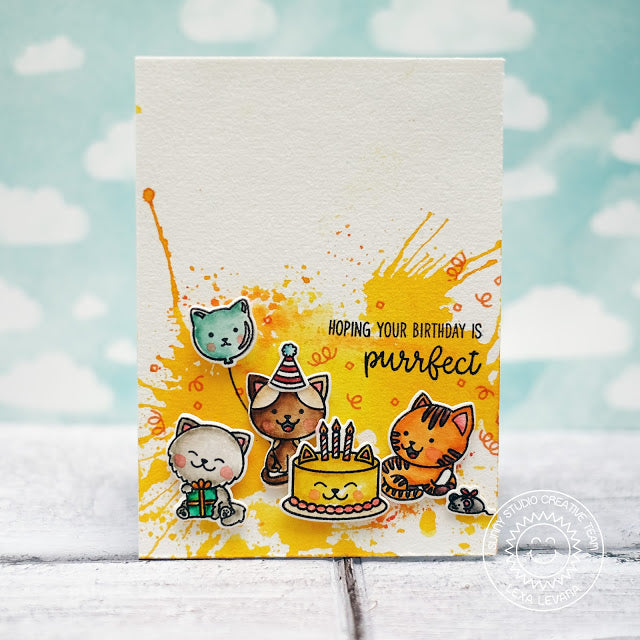 Sunny Studio Stamps Purrfect Birthday Kitty Cat Confetti Explosion Watercolor Splatter Card
