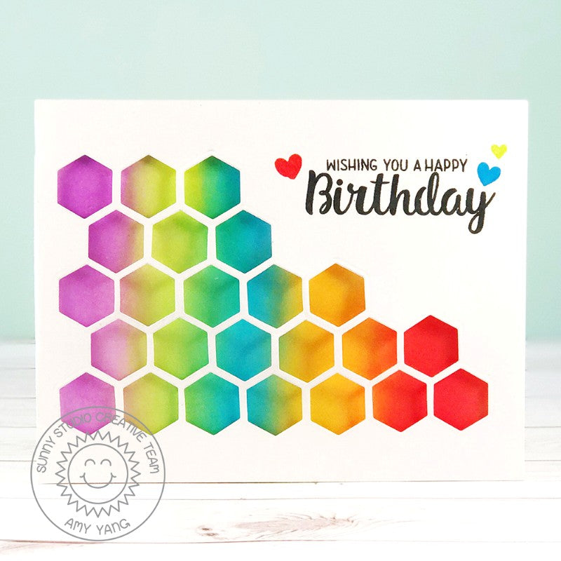 Sunny Studio Stamps Quilted Hexagon Rainbow CAS Die-cut Birthday Card by Amy Yang