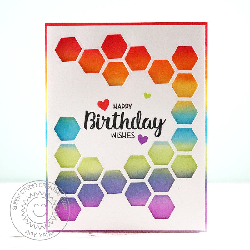 Sunny Studio Stamps Quilted Hexagon Rainbow Clean & Simple Birthday Card by Amy Yang