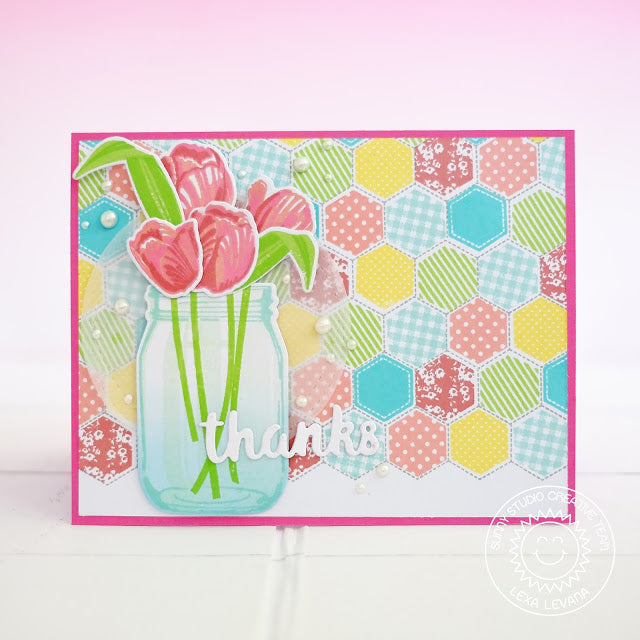 Sunny Studio Stamps Timeless Tulips Spring Hexagon Quilt Card