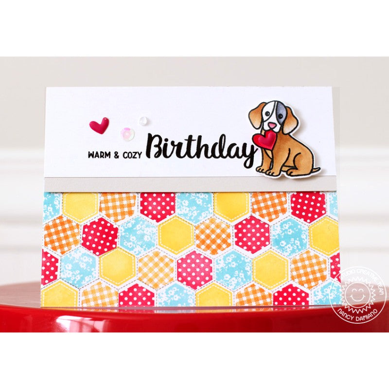 Sunny Studio Stamps Quilted Hexagons Warm & Cozy Dog Birthday Card