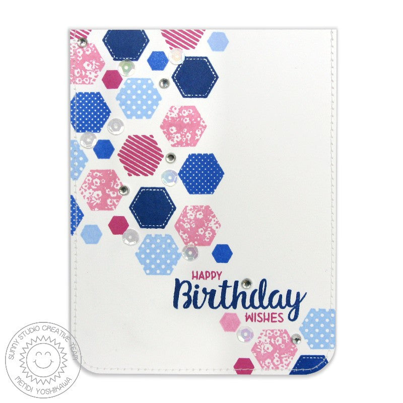 Sunny Studio Stamps Quilted Hexagons Pink, Blue & Navy Birthday Card