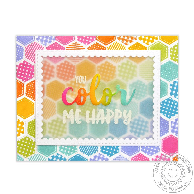 Sunny Studio Stamps Quilted Hexagons Rainbow Color Me Happy Card