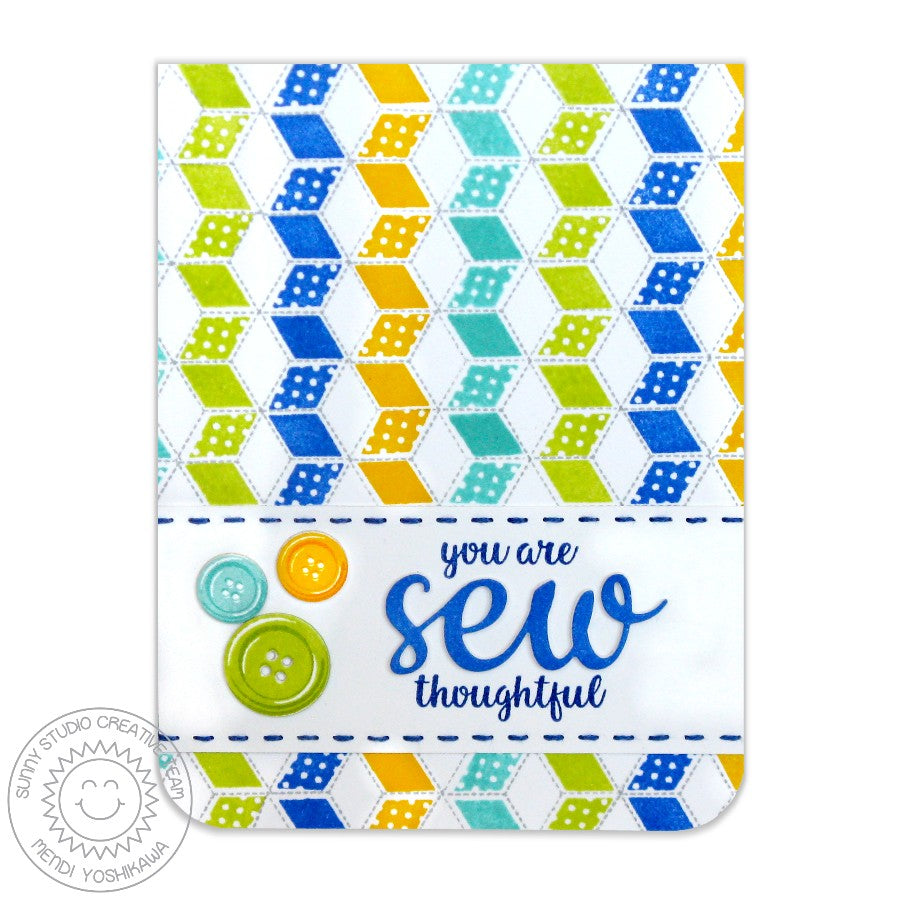 Sunny Studio Stamps Quilted Hexagons Blue, Green & Yellow Sew Thoughtful card