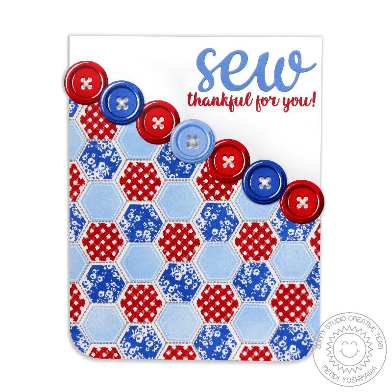 Sunny Studio Stamps Cute As A Button Red, White & Blue Sew Thankful Card