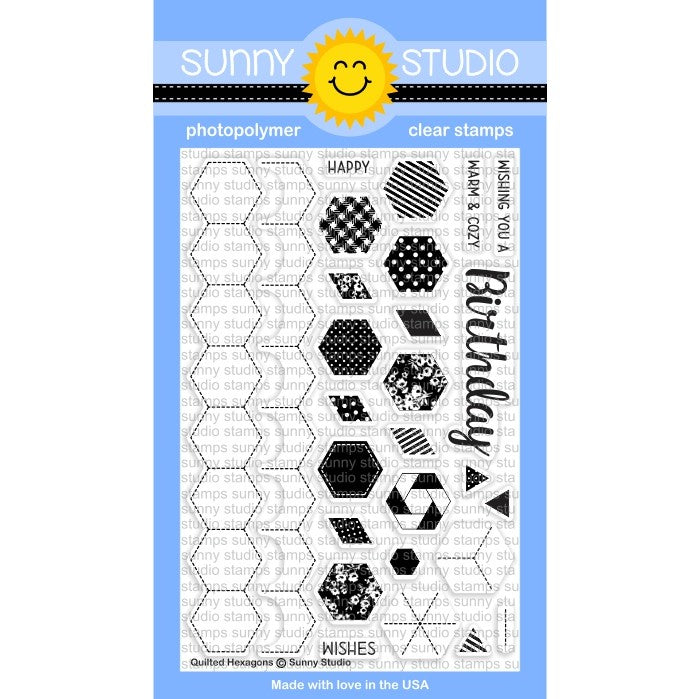 Sunny Studio Stamps Quilted Hexagons 4x6 Background Builder Photopolymer Clear Stamp Set