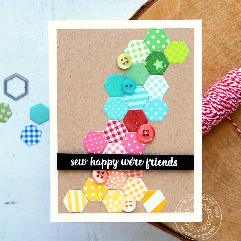 Sunny Studio Stamps Quilted Hexagon Rainbow Quilt Card by Vanessa Menhorn