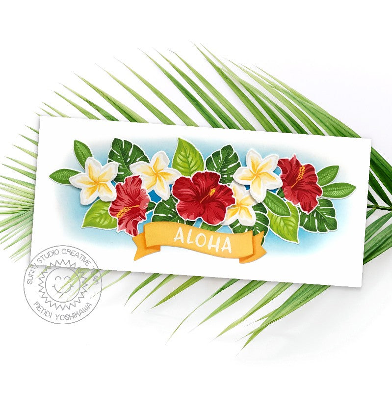 Sunny Studio Stamps Aloha Banner Hibiscus , Plumeria & Tropical Leaves Slimline Thinking of You Handmade Card (using Radiant Plumeria 4x6 Clear Photopolymer Stamp Set)