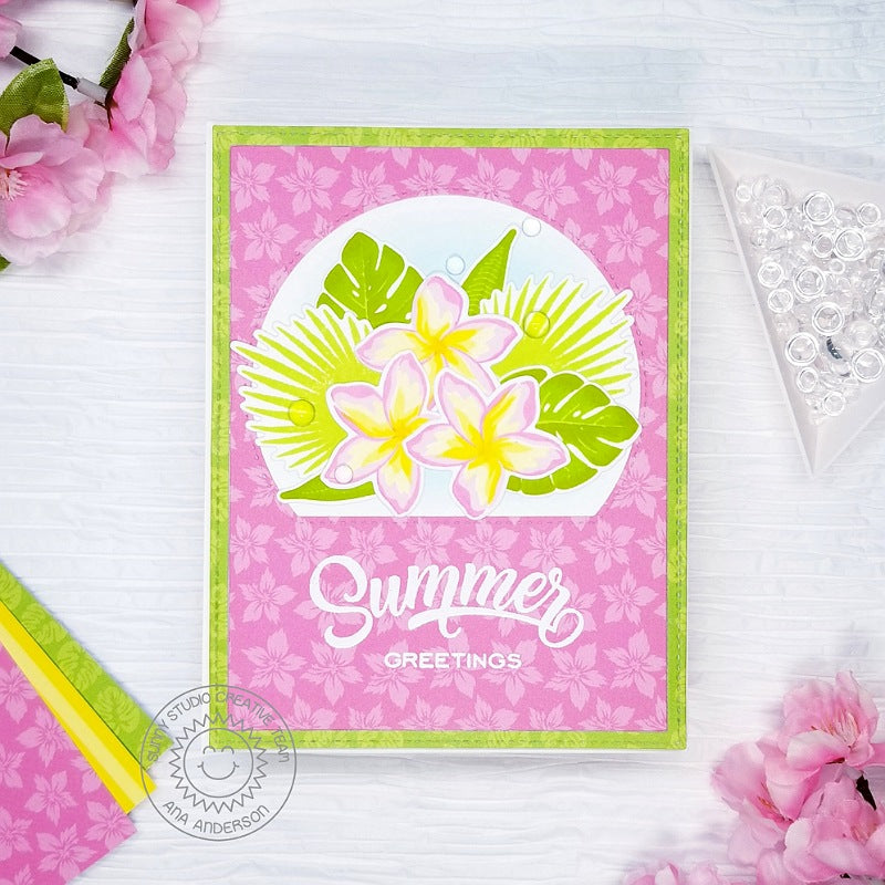 Sunny Studio Stamps Layered Plumeria Tropical Flowers Summer Greetings Handmade Card with Curved Window (using Stitched Semi-Circle Metal Cutting Dies)