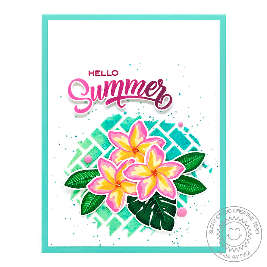 Sunny Studio Stamps Hello Summer Radiant Plumeria Tropical Flowers Handmade Card (using Frilly Frames Herringbone Metal Cutting Dies)