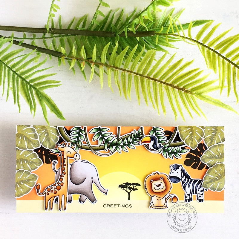 Sunny Studio Stamps Tropical Leaves Jungle Themed Zoo Animal Slimline Handmade Card (using Radiant Plumeria 4x6 Clear Photopolymer Stamp Set)