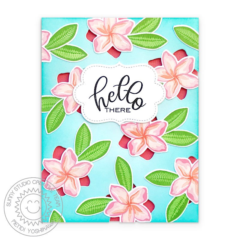 Sunny Studio Stamps Hello There Tropical Flower Thinking of You Handmade Card with die-cut cutouts (using Radiant Plumeria 4x6 Clear Photopolymer Color Layering Layered Stamp Set)