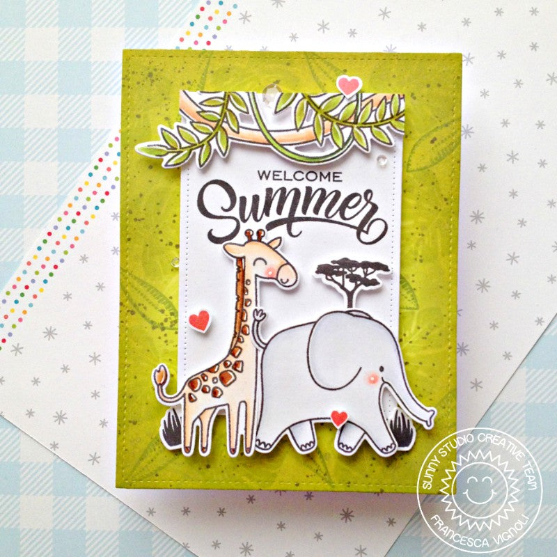 Sunny Studio Stamps Welcome Summer Giraffe & Elephant Handmade Card with Jungle Leaf Background (using Radiant Plumeria 4x6 Clear Photopolymer Stamp Set)