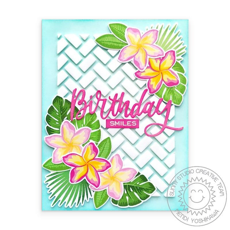 Sunny Studio Stamps Birthday Smiles Tropical Plumeria Flowers and Leaves Summer Handmade Card (using Frilly Frames Herringbone Background Backdrop Metal Cutting Dies)
