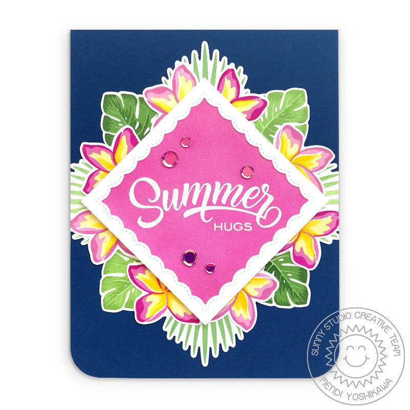 Sunny Studio Stamps Layered Floral Plumeria Summer Hugs Card (featuring Iridescent Pastel Confetti)