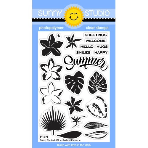 Sunny Studio Stamps Radiant Plumeria Tropical Flower and Leaves Layering Layered 4x6 Clear Photopolymer Stamp Set