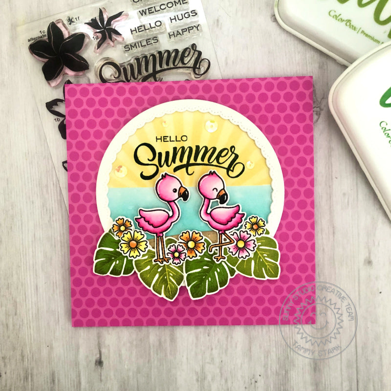 Sunny Studio Stamps Hello Summer Pink & Green Handmade Square Card (using Fabulous Flamingos 4x6 Clear Photopolymer Stamp Set)