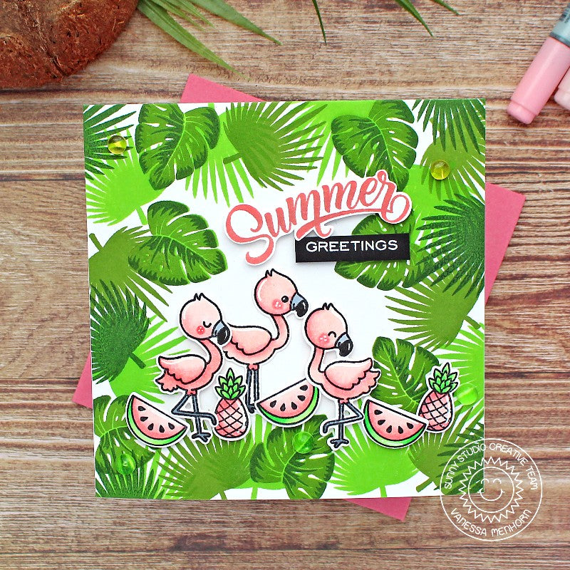 Sunny Studio Pink & Green Summer Greetings Flamingos with Pineapple, Watermelon & Jungle Leaves Handmade DIY Fabulous Flamingos 4x6 Clear Photopolymer Stamp Set)