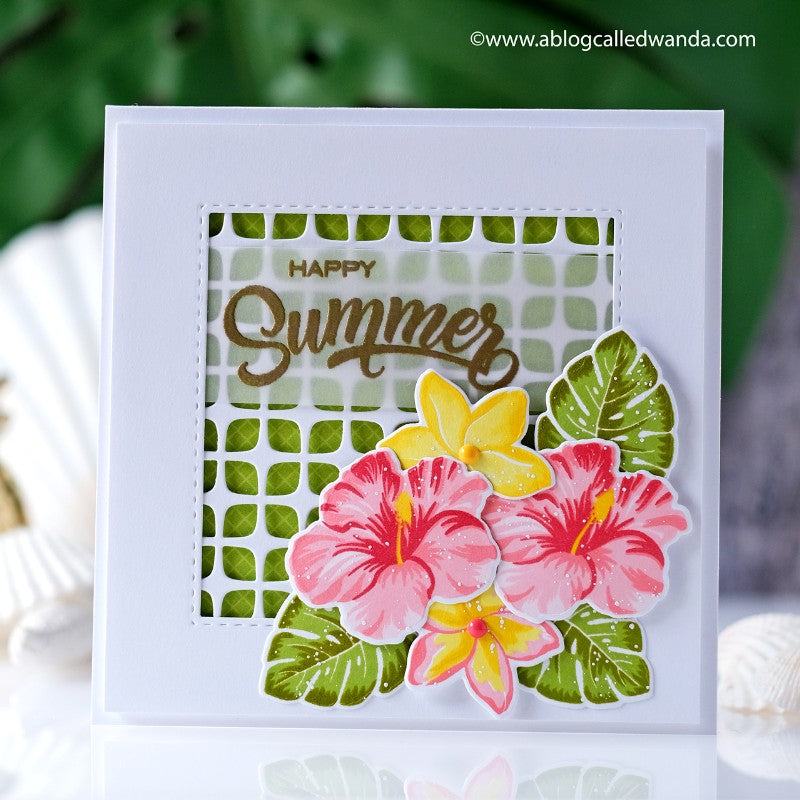 Sunny Studio Happy Home Layered Hibiscus and Plumeria Flower Handmade Card by Wanda Guess (using Frilly Frames Retro Petals Background Metal Cutting Dies)