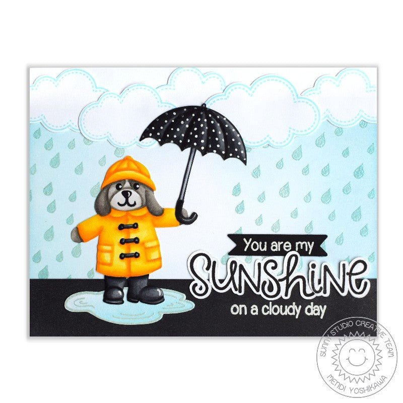 Sunny Studio Stamps Rain Showers You Are My Sunshine on a Cloudy Day Card by Mendi Yoshikawa