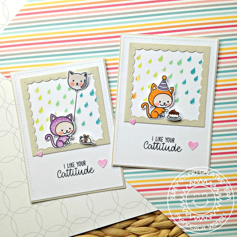 Sunny Studio Stamps Rain Showers Rainbow Kitty Cat Cards