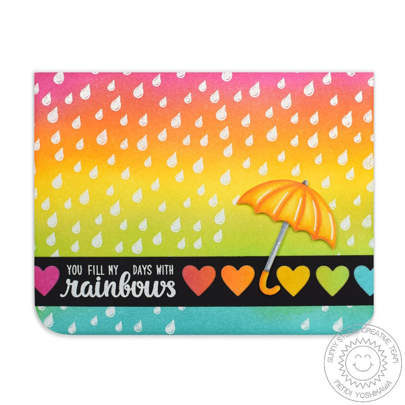 Sunny Studio Stamps Rain Showers Rainbow Umbrella Card by Mendi Yoshikawa