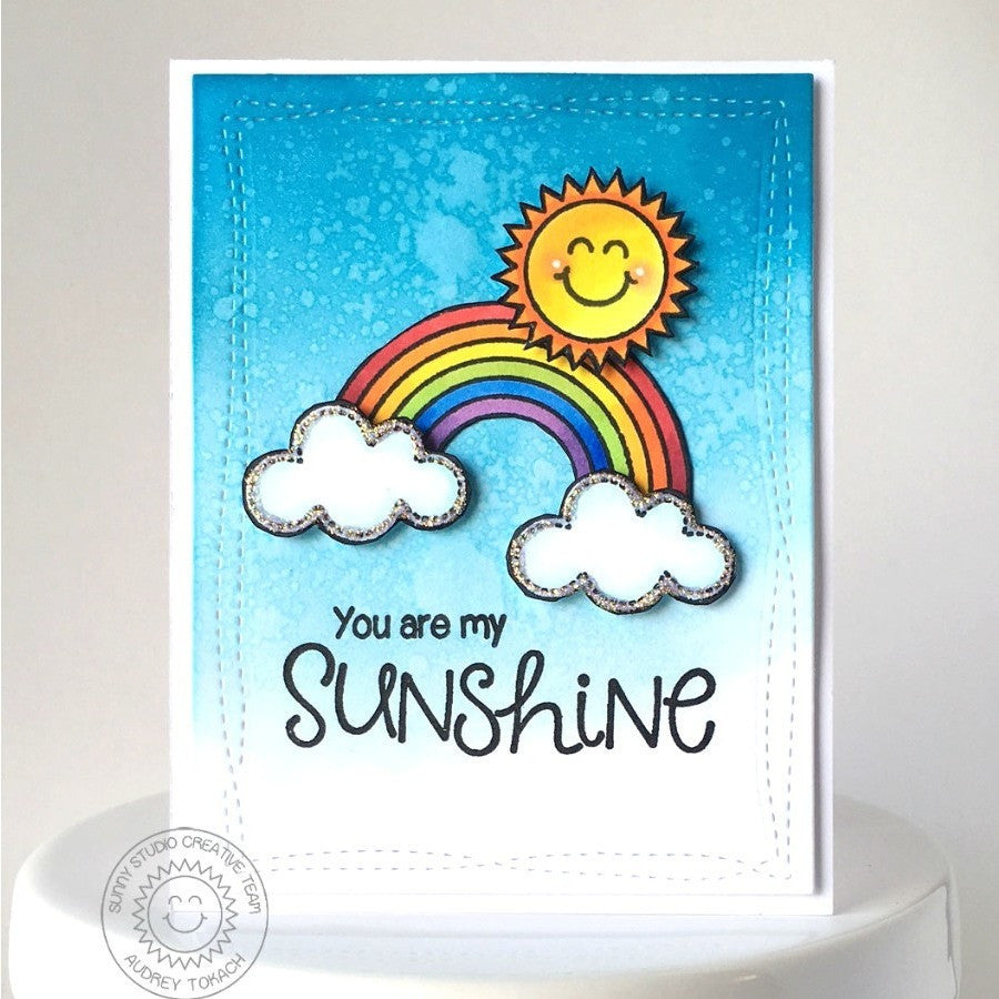 Sunny Studio Stamps Rain or Shine You Are My Sunshine Rainbow Card