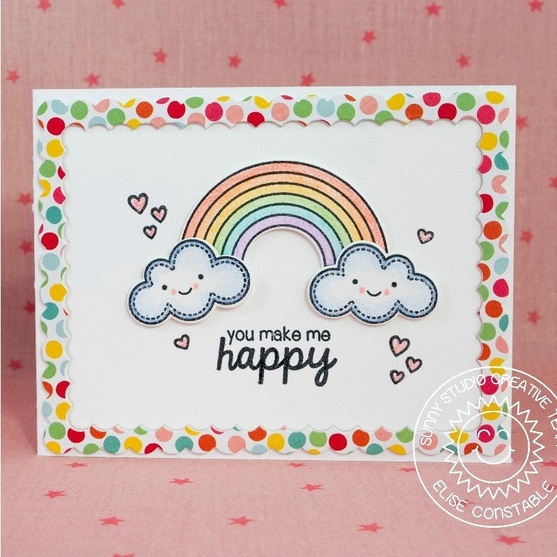 Sunny Studio Stamps Rain or Shine You Make Me Happy Rainbow Card
