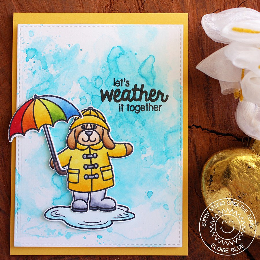 Sunny Studio Stamps Rain or Shine Watercolor Rainbow Umbrella Card