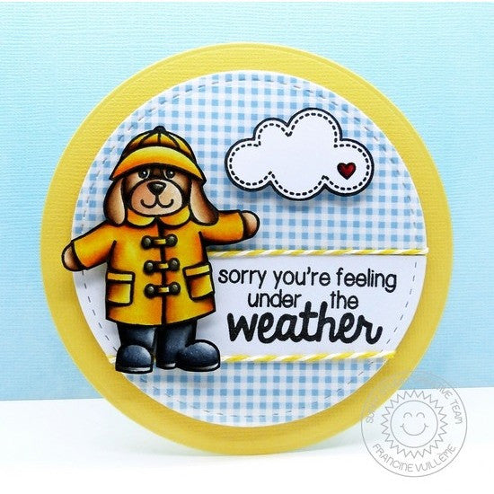 Sunny Studio Stamps Rain or Shine Puppy Dog with Umbrella & Yellow Raincoat Card