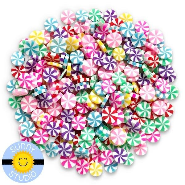 Sunny Studio Stamps Rainbow Swirl Candy Clay Candies Confetti Embellishments for Shaker Cards, Scrapbooking & Paper Crafts
