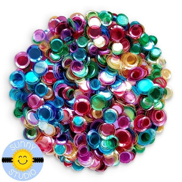 Sunny Studio Stamps 4mm, 5mm and 6mm Cupped Transparent Rainbow Confetti Mix