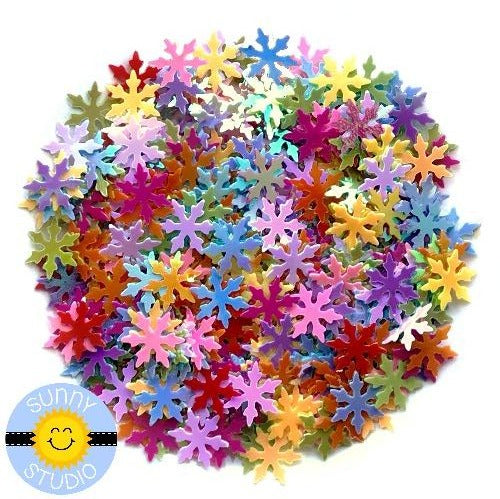 Sunny Studio Stamps Rainbow Iridescent Snowflake Confetti Sequins Shaker Embellishments