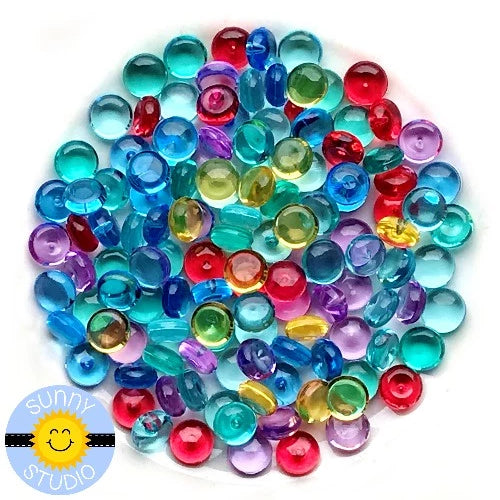 Sunny Stamps Rainbow Transparent Crystal Droplets 6mm Drops for Embellishing Cards, Paper Crafts & Scrapbooking