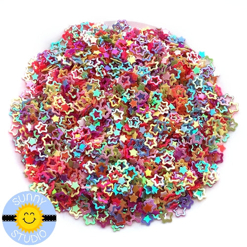 Sunny Studio Stamps Iridescent Rainbow Star Confetti perfect for embellishing paper crafting projects or shaker cards