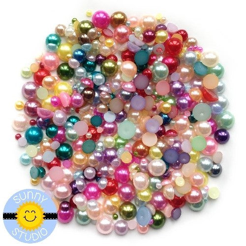 Sunny Studio Stamps 2mm, 3mm, 4mm, 5mm & 6mm Rainbow Multi-colored Faux Pearls Embellishment assortment for card making, paper crafts and scrapbooking