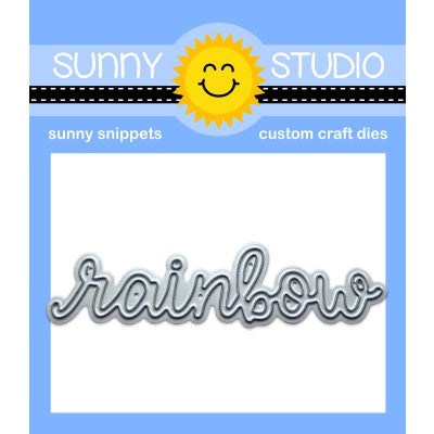 "Sunny Studio Stamps Script Rainbow Word 3"" Low Profile Metal Cutting Die"