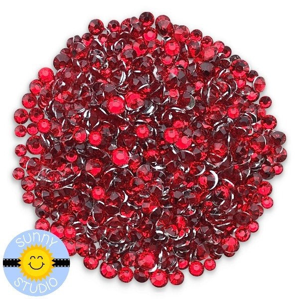 Sunny Studio Stamps Transparent Red Zircon Jewels Gems Rhinestones Crystals- 3mm, 4mm & 5mm