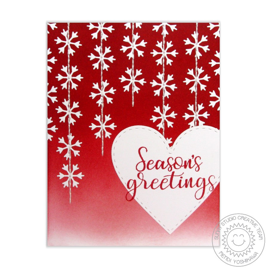 Sunny Studio Stamps Red & White Snowflake Card (using exclusive Basic Mini Shape Dies II)