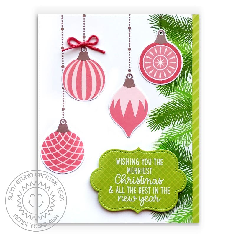 Sunny Studio Stamps Coral and Green Wishing You the Merriest Christmas and Best in the New Year Handmade Holiday Card (using Retro Ornaments 4x6 Clear Photopolymer Stamp Set)