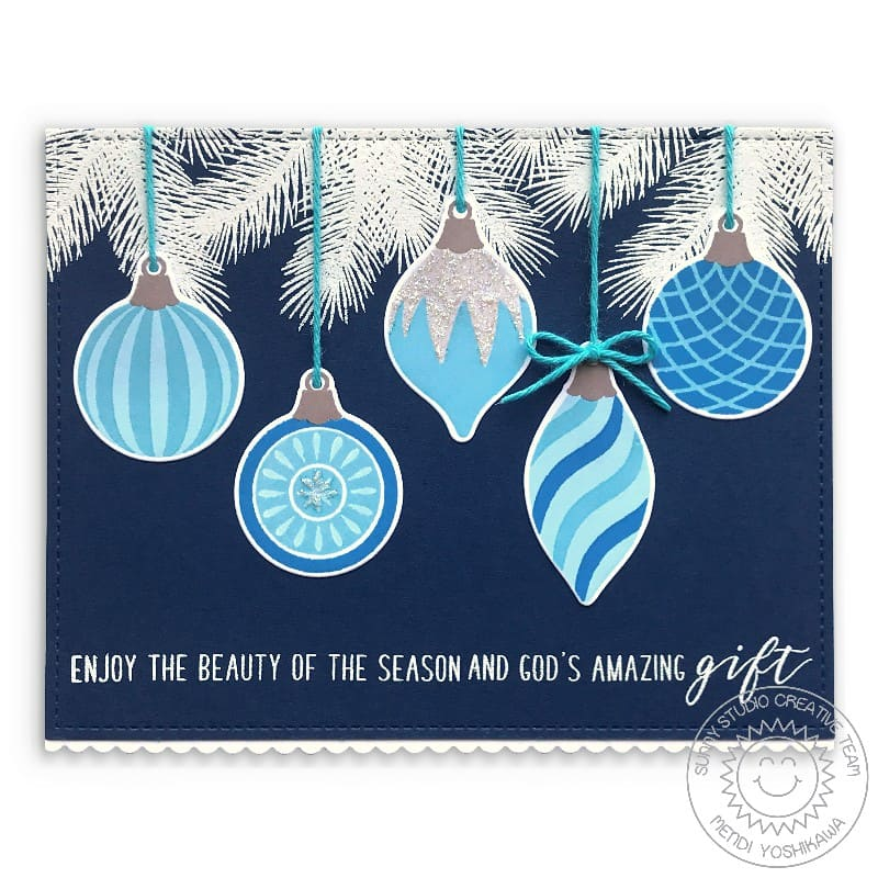 Sunny Studio Stamps Silver, Blue & White Enjoy The Beauty of the Season and God's Amazing Gift Handmade Holiday Christmas Card (using Retro Ornaments 4x6 Clear Photopolymer Stamp Set)