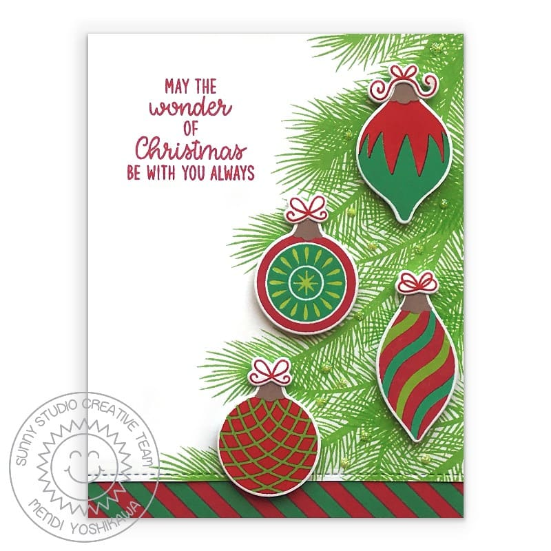 Sunny Studio Stamps Red & Green Wonder of Christmas Tree Handmade Holiday Card (using Retro Ornaments 4x6 Clear Photopolymer Stamp Set)